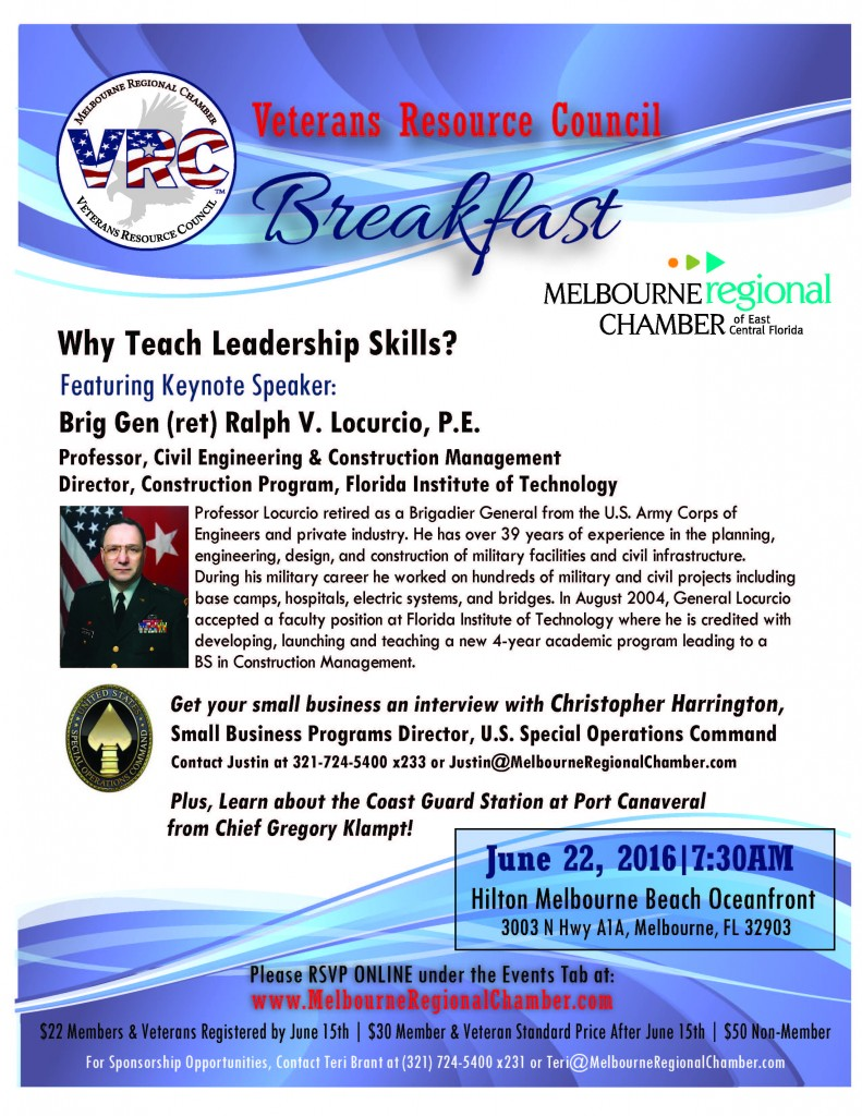 June 22 VRC Breakfast and SOCOM Industry Day